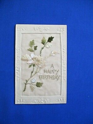 Edwardian Embroidered  Collectors Postcard Happy Birthday