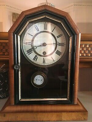 Small Antique Clock approx size 13 x 10. Wind Up. Bracket or Free Standing.