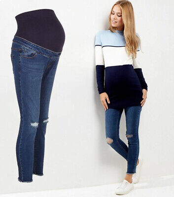 NEW LOOK Maternity Over Bump BLUE Ripped Jeans, Pregnancy Skinny Jeggings