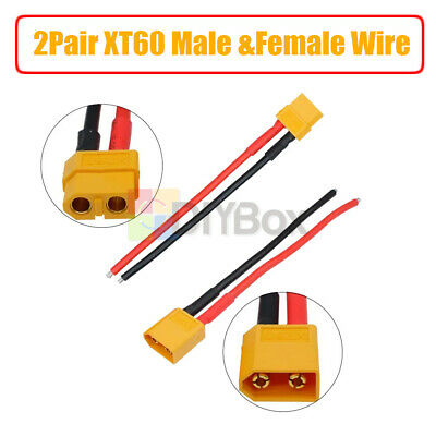 4Pcs 2Pair XT60 Connector Male & Female W/ Housing 14AWG Cable 10CM Silicon Wire