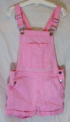 Girls Primark Light Pink Stretchy Denim Short Playsuit Dungarees Age 7-8 Years