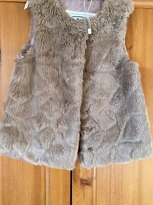 M&S Girls Age 2-3 Fur Blush Pink Gilet Bnwot