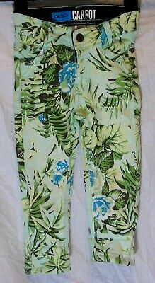 Boys Okaidi Green Denim Blue Tropical Floral Leaf Carrot Leg Jeans Age 4 Years