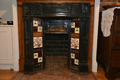 Antique Cast Iron Fireplace Surround  with Decorative Tiles, probably Victorian