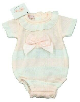 PEX OPAL Baby Girls Romper Baby Grow Knitted Spanish Style Pink,Blue,Grey,White