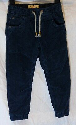 Boys Next Dark Navy Blue Cord Warm Winter Cuffed Lined Trousers Age 3-4 Years
