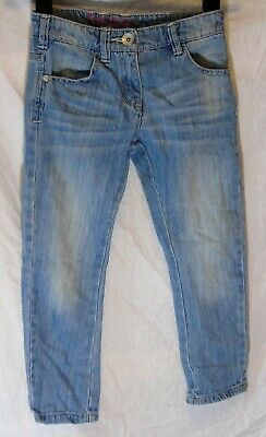 Girls Next Light Blue Whiskered Denim Adjustable Waist Classic Jeans Age 6 Years