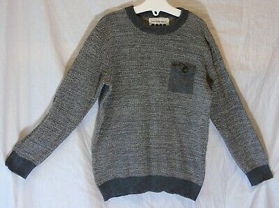 Boys Matalan Mid Grey Marl Textured Cuffed Pocket Fronted Jumper Age 6-7 Years