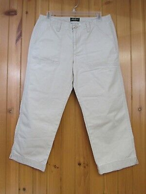 Eddie Bauer Women's Beige Cropped Capri Chino Khaki Pants Size 8 100% Cotton