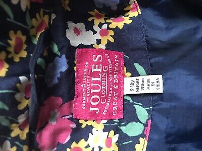 Girls 9-10 Joules navy puffa jacket with Faux Fur Hood
