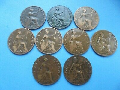 Edward VII 1902 to 1910 incl. Halfpenny's, as shown.