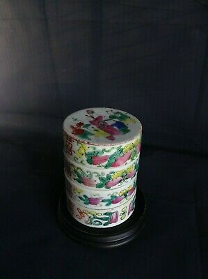 An Antique Chinese Famille Rose Four-tier Porcelain Covered Box
