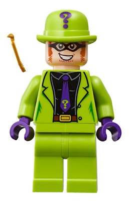 LEGO DC Super Heroes The Riddler Minifigure from set 76120 NEW with crowbar