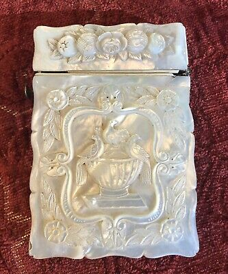 1857 19th Century Inscribed Mother of Pearl MOP Calling Card Case High Relief