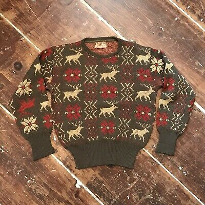 Vintage Republic Sportswear Stag/Deer Snowflake Wool Sweater 40s Mens Small