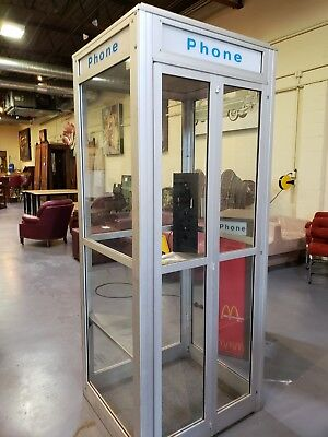 Vintage 1960's RARE Pay Phone Booth Superman Gas Oil Soda Mancave Coin-Op CLEAN