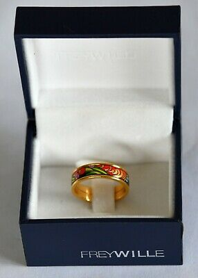 Beautiful Frey Willie 24kt gold plated enamel Ring 'Passionate Russia' design