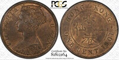 1901 Hong Kong 🇭🇰 1C 1 Cent Copper Coin NGC MS63 BN *HAS 50% RED COLOR!