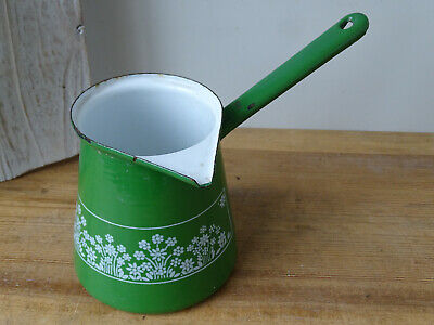 V0860 Email Saucepan - Enamel Pot - Casserole Dish with Handle - Green