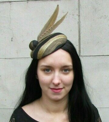 Black & Gold Pheasant Feather Hat Fascinator Races Wedding Hatinator Ascot 8049