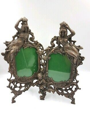 Victorian Antique Cast Iron Pair Picture Frames Beautiful