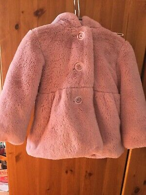 Nutmeg Toddler Baby Girls Pink Hooded Coat Faux Fur Jacket Size: 18 to 24 Months