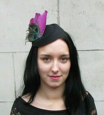Black Plum Purple Green Peacock Feather Pillbox Hat Fascinator Races Hair 8055