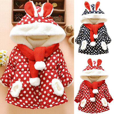 Infant Baby Boys Girls Cute Rabbit Ears Hooded Winter Coat Jacket Outerwear AU