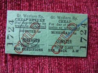 Vintage Great Western Railway (GWR) Dunster To Minehead Child Ticket 1724 fc74a