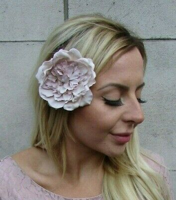Pale Nude Mink Oyster Flower Hair Clip Fascinator Floral Bridesmaid Races 8064