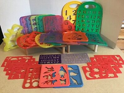 Plastic Stencils Holiday Animal Letters Kids Crafts Lot Tupperware Little Tikes