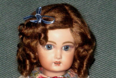 Daisy light brown mohair wig for antique French/ German bisque doll size 13 - 14