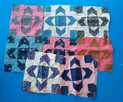 LOT of 16 c1880 Antique Quilt Blocks Hand Pieced Early Unusual Fabrics Used