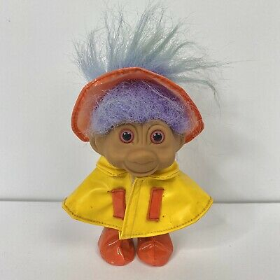 Vintage Retro Troll Doll in Yellow Raincoat and Hat