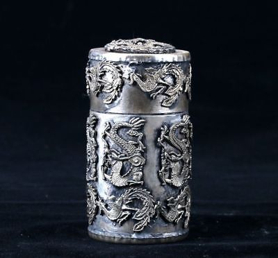 Collectible Chinese Old Silver copper Handwork carved Dragon Toothpick Box sl
