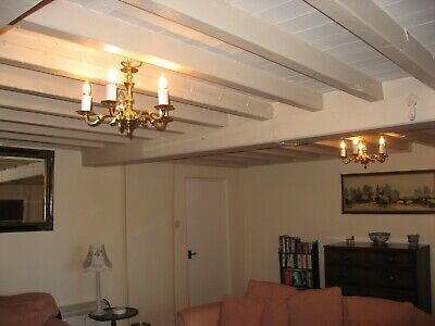 Pair Of Solid Brass 5 Branch Chandeliers Fully Working