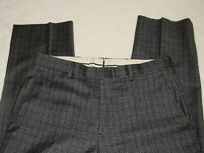 BROOKS BROTHERS Fitzgerald Gray Plaid Check Wool Pants 33W x 30L
