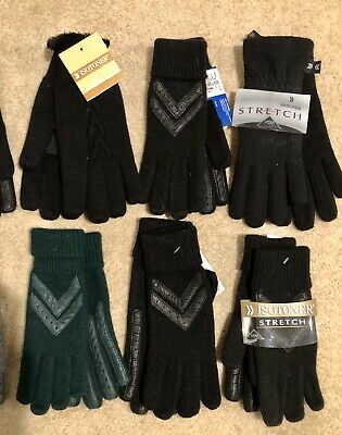 NWT Wholesale Resale Lot 6 Pair Womens Isotoner Knit Gloves - One Size NEW!