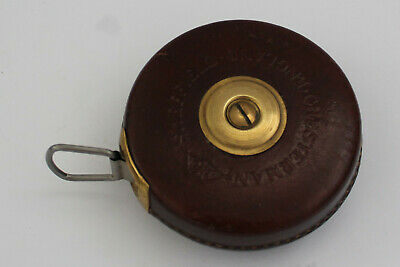 CHESTERMAN tape measure with brown leather case. Made in Sheffield, England.