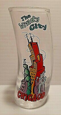 """Curved Decorative 4"""" Souvenir Collectible Shot Glass Chicago The Windy City"""