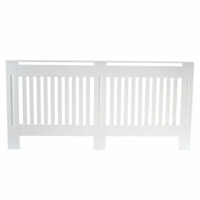 Ventilated MDF Board Vertical Stripe Pattern Radiator Cover White XL Size FT