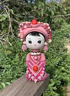 Beautiful Chinese Cartoon Minority Costume Wooden Doll Pink 21cm Tall Pink