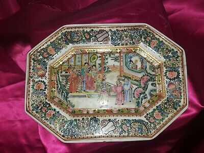 Antique Vintage Chinese Export Porcelain Famillie Rose Tray