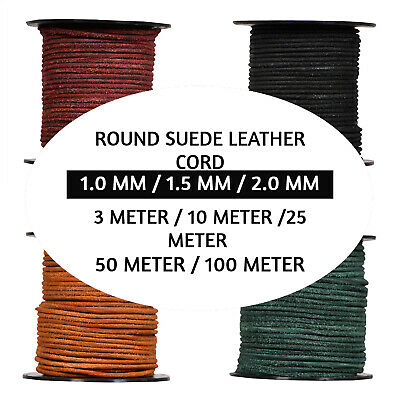 Xsotica Round Suede Leather Cord - 1 MM / 1.5 MM / 2.0 MM Leather Cords