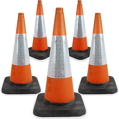 5 x 750mm Traffic Road Cones in Orange - Heavy Duty Self Weighted Safety Cone