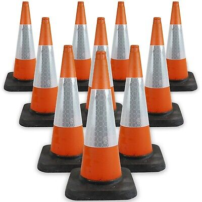 10 x 750mm Traffic Road Cones in Orange - Heavy Duty Self Weighted Safety Cone