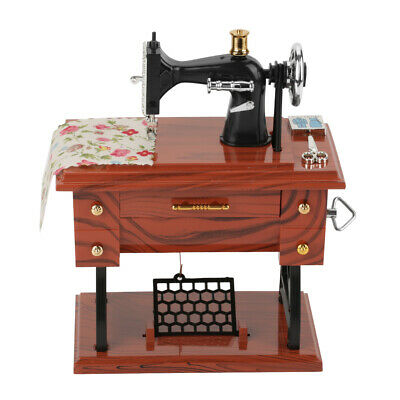 Wood Grain Color Retro Mini Sewing Machine Style Music Box Office Room Adornment