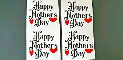 4 x Vinyl Decal Stickers Happy Mothers Day 6 cms By 6 cms Wine Gin Glasses  F.P