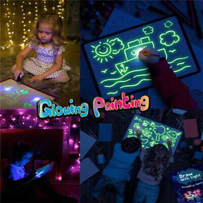 Light Up Drawing Fluorescent Magic Writing Board Kit Kids Fun&Developing Toys