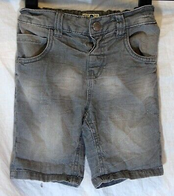 Boys Next Plain Mid Grey Distressed Whiskered Denim Board Shorts Age 3-4 Years